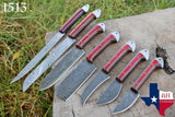 7 Pieces Hand Forged Damascus Steel Chef Kitchen Knife Set With Stained Wood Handle  AH-1513
