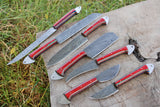 7 Pieces Hand Forged Damascus Steel Chef Kitchen Knives Set With Stained Wood Handle AH-1513