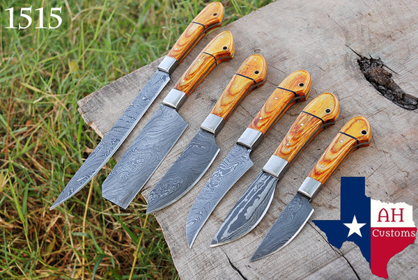 6 Pieces Hand Forged Damascus Steel Chef Kitchen Knives Set With Stained Wood Handle & Steel Bolster AH-1515