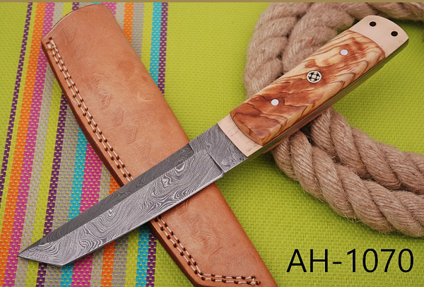 HAND FORGED DAMASCUS STEEL TANTO POINT HUNTING KNIFE WITH OLIVE WOOD HANDLE AH-1070