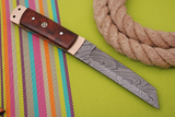 HAND FORGED DAMASCUS STEEL TANTO POINT HUNTING KNIFE WITH ROSE WOOD HANDLE AH-1072