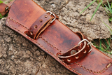 CUSTOM MADE PURE LEATHER SHEATH FOR FIXED BLADE KNIFE AH-931