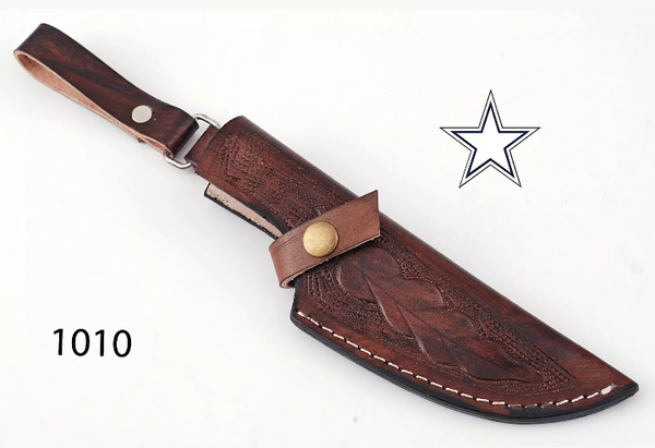 CUSTOM MADE PURE LEATHER HAND ENGRAVED SHEATH FOR FIXED BLADE KNIFE AH-1010