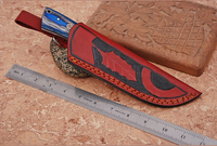 CUSTOM MADE PURE LEATHER HAND  ENGRAVED SHEATH FOR FIXED BLADE KNIFE AH-1300