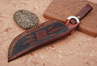 CUSTOM MADE PURE LEATHER HAND  ENGRAVED SHEATH FOR FIXED BLADE KNIFE AH-1299