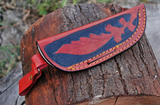 CUSTOM MADE PURE LEATHER HAND  ENGRAVED SHEATH FOR FIXED BLADE KNIFE AH-1298