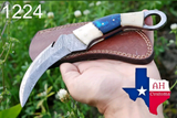 HAND FORGED DAMASCUS STEEL KARAMBIT COMBAT KNIFE WITH WOOD & BONE HANDLE AH-1224