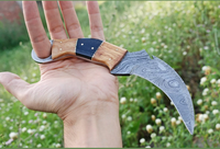 HAND FORGED DAMASCUS STEEL KARAMBIT COMBAT KNIFE WITH WOOD & HORN HANDLE AH-1225