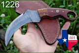 HAND FORGED DAMASCUS STEEL KARAMBIT COMBAT KNIFE WITH ROSE WOOD HANDLE AH-1226