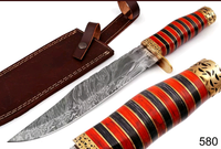 HAND FORGED DAMASCUS HUNTING KNIFE & BRASS GUARD & W/PUKKA WOOD HANDLE AH-580