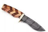 HAND FORGED DAMASCUS STEEL SKINNER & HUNTING KNIFE WITH ROSE WOOD &OLIVE WOOD HANDLE-1025