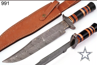 16 INCHES HAND FORGED DAMASCUS STEEL HUNTING KNIFE & HORN WITH DAMASCUS GUARD HANDLE AH-991