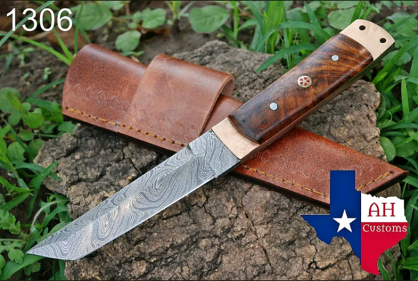 HAND FORGED DAMASCUS STEEL TANTO POINT HUNTING KNIFE & ROSE WOOD HANDLE AH-1306