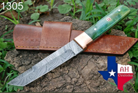 HAND FORGED DAMASCUS STEEL TANTO POINT HUNTING KNIFE WITH BONE HANDLE AH-1305