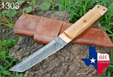 HAND FORGED DAMASCUS STEEL TANTO POINT HUNTING KNIFE WITH OLIVE WOOD HANDLE AH-1303