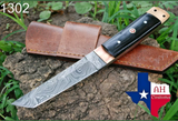 HAND FORGED DAMASCUS STEEL TANTO POINT HUNTING KNIFE WITH HORN HANDLE AH-1302