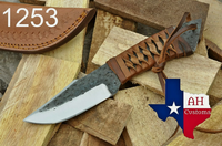 Hand Forged Railroad Carbon Steel Skinner Knife With Leather Handle AH-1253