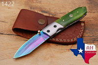 Custom Hand Forged Damascus Steel Hunting Folding Knife With Buffalo Bone Handle AH-1422
