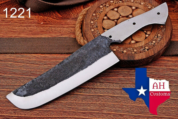 1095 Hand Forged Railroad Spike Blank Blade Chef Knife AH-1221