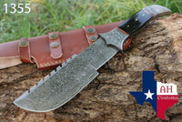 Hand Forged Damascus Steel Tracker Hunting Knife With Buffalo Bone Handle AH-1355