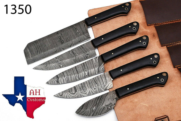 5 Pieces Hand Forged Damascus Steel Chef Kitchen Knives Set With Micarta Handle AH-1350