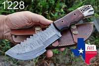 Hand Forged Damascus Steel Tracker Hunting Knife With Wood & Stag Handle AH-1228