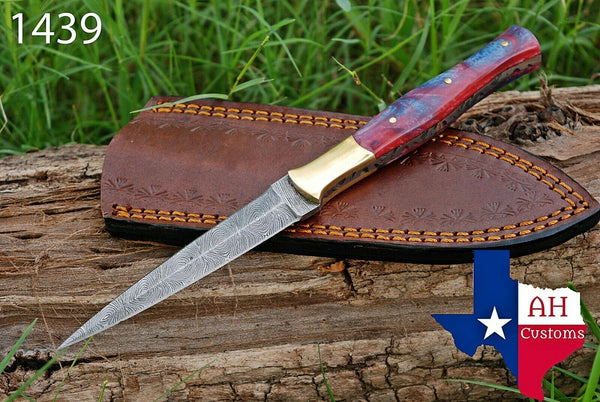 Hand Forged Damascus Steel Dagger Throwing Boot Knife With Risen Handle & Brass Bolster AH-1439