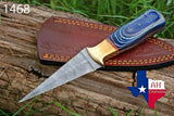 Hand Forged Damascus Steel Dagger Boot Knife With Stained Wood Handle & Brass Bolster AH-1468