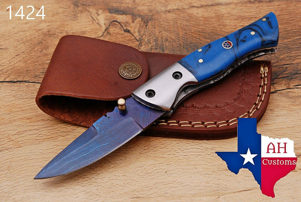 Custom Hand Forged Damascus Steel Hunting Folding Knife With Buffalo Bone Handle AH-1424