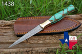 Hand Forged Damascus Steel Dagger Throwing Boot Knife With Risen Handle & Brass Bolster AH-1438