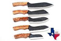 5 Pieces Hand Forged Railroad Spike Carbon Steel Chef Kitchen Knife Set With Olive Wood Handle AH-1309