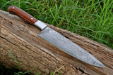 Hand Forged Damascus Steel Chef Knife With Wood Handle And Steel Bolster AH-1474