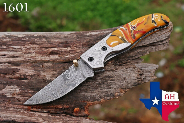 Custom Hand Forged Damascus Steel Folding Pocket Knife With Risen Handle & Engraved Bolster AH-1601