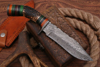 Hand Forged Damascus Steel Hunting Knife With Stag Handle And Damascus Guard AH-1397