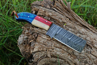 Hand Forged Damascus Steel Bull Cutter/Cowboy Knife With Buffalo Bone & Wood Handle AH-1484
