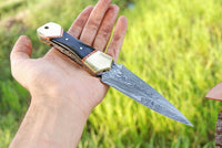 Hand Forged Damascus Steel Dagger Boot Knife With Horn & Brass Handle AH-1337