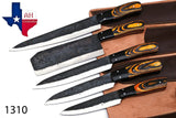 5 Pieces Hand Forged Railroad Spike Carbon Steel Chef Kitchen Knife Set With Stained Wood Handle AH-1310