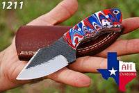 Custom Hand Made Railroad Carbon Steel Hunting/Skinner Knife With Risen Handle AH-1211