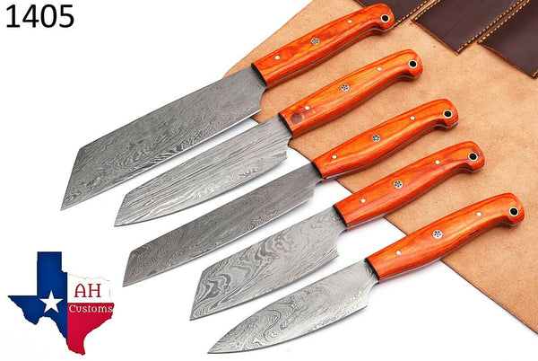 5 Pieces Hand Forged Damascus Steel Chef Kitchen Knives Set With Wood Handle AH-1405