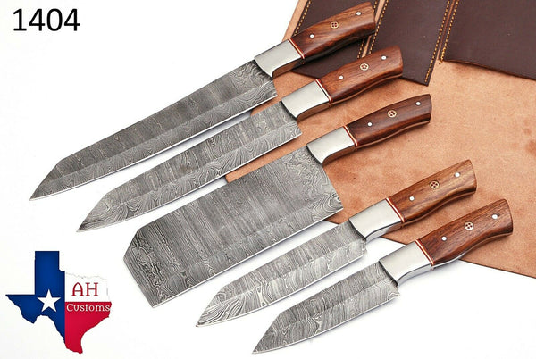 5 Pieces Hand Forged Damascus Steel Chef Kitchen Knives Set With Wood Handle AH-1404