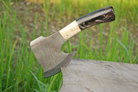 Hand Made Damascus Art Hunting Cleaver Chopper Axe Knife With Buffalo Horn Handle AH-1411