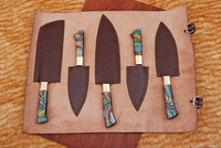 5 Pieces Hand Forged Damascus Steel Chef Kitchen Knives Set With Risen & Brass Handle AH-1341