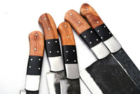 5 Pieces Hand Forged Railroad Spike Carbon Steel Chef Kitchen Knife Set AH-1327