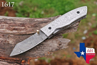 Custom Hand Forged Damascus Steel Folding Pocket Knife With Steel Engraved Handle AH-1617