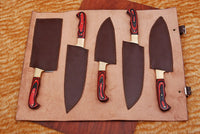 5 Pieces Hand Forged Damascus Steel Chef Kitchen Knives Set With Stained Wood & Brass Bolster Handle AH-1344
