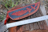 "8"" Inches Custom Hand Made Pure Leather Hand Engraved Sheath For Dagger Blade Knife AH-1298"