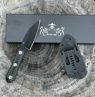 Tactical FIXED BLADE D2 Survival Knife with Kydex 2mm thickness Sheath titanium coated paint