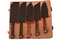 5 Pieces Hand Forged Damascus Steel Chef Kitchen Knives Set With Horn Handle AH-1352