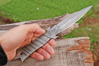 Custom Hand Forged Damascus Steel Hunting Blank Blade Knife  Full Tang AH-1637