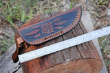 "8"" Inches Custom Hand Made Pure Leather Hand Engraved Sheath For Dagger Blade Knife AH-1299"